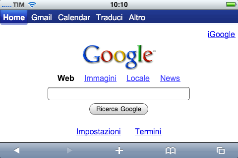 iPhone e Safari in orizzontale